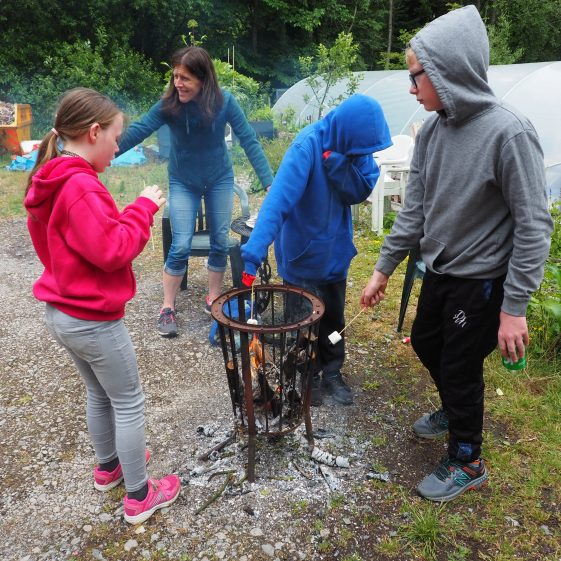Toasting marshmallows - an indulgence for the last day.